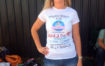 Kelly wearing her charity t-shirt ready after her skydive